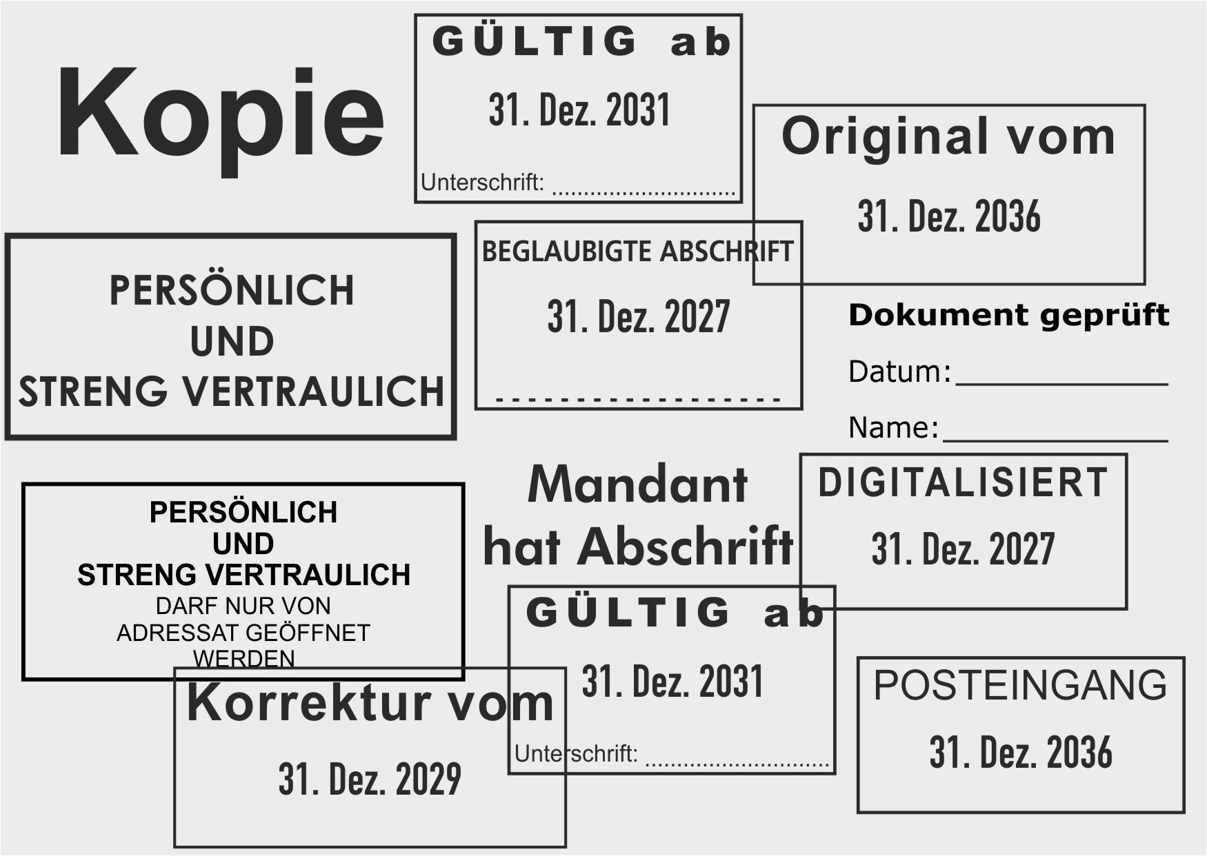 Trodat Professional Bürostempel mit fertigen Standardtexten direkt Bestellen