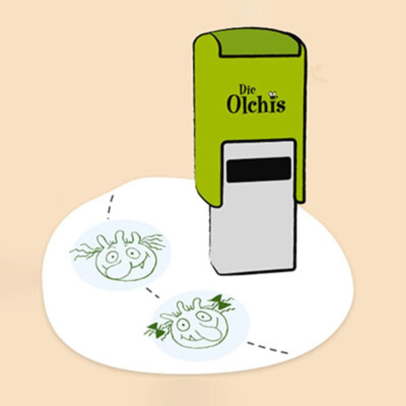Wenn der Olchi verschwunden ist, gibt es zur Belohnung einen Stempel in den Stempelpass.