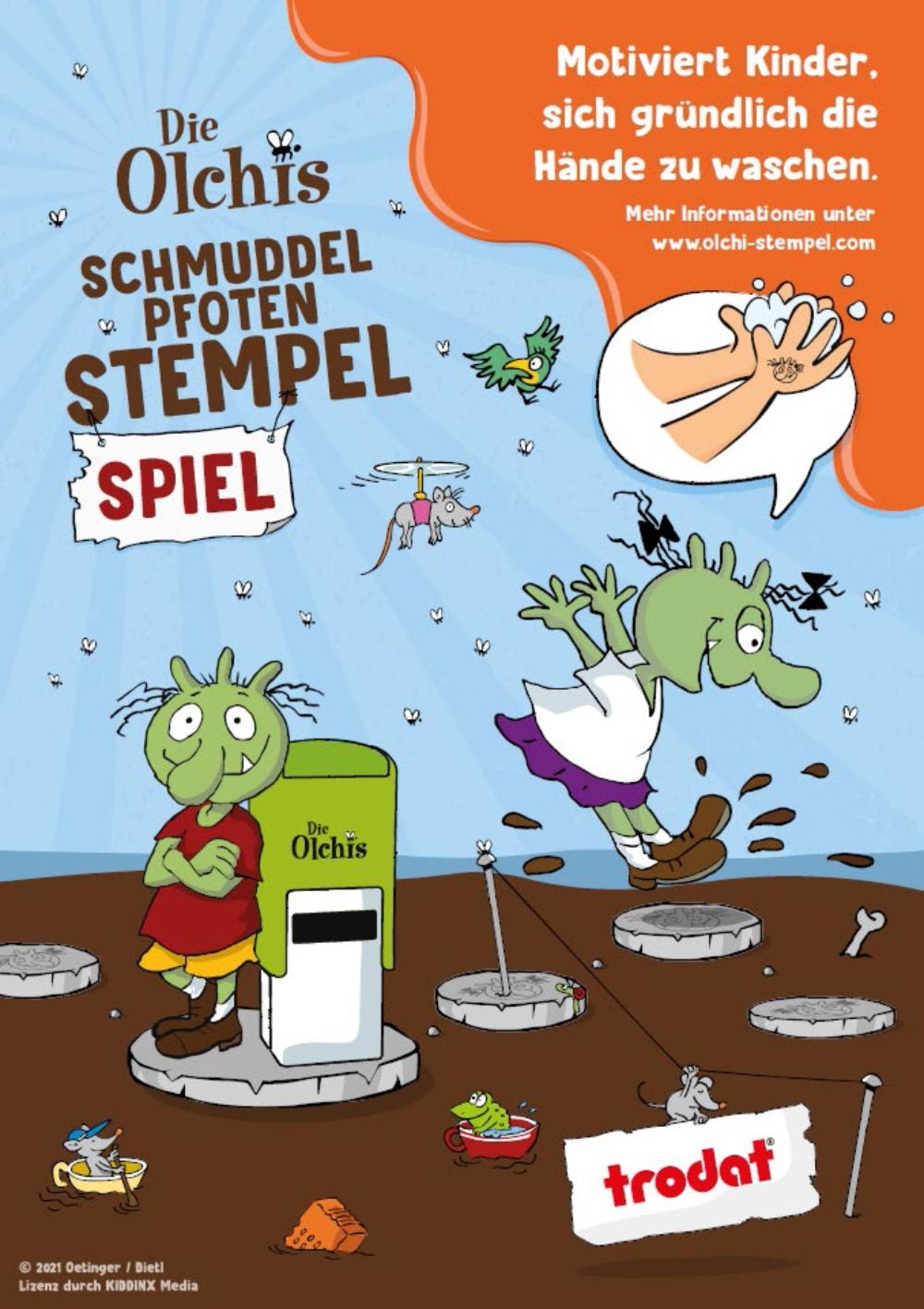 Olchis Schmuddelpfoten Stempel und Spiel Handhygiene Stempel motiviert das Händewaschen