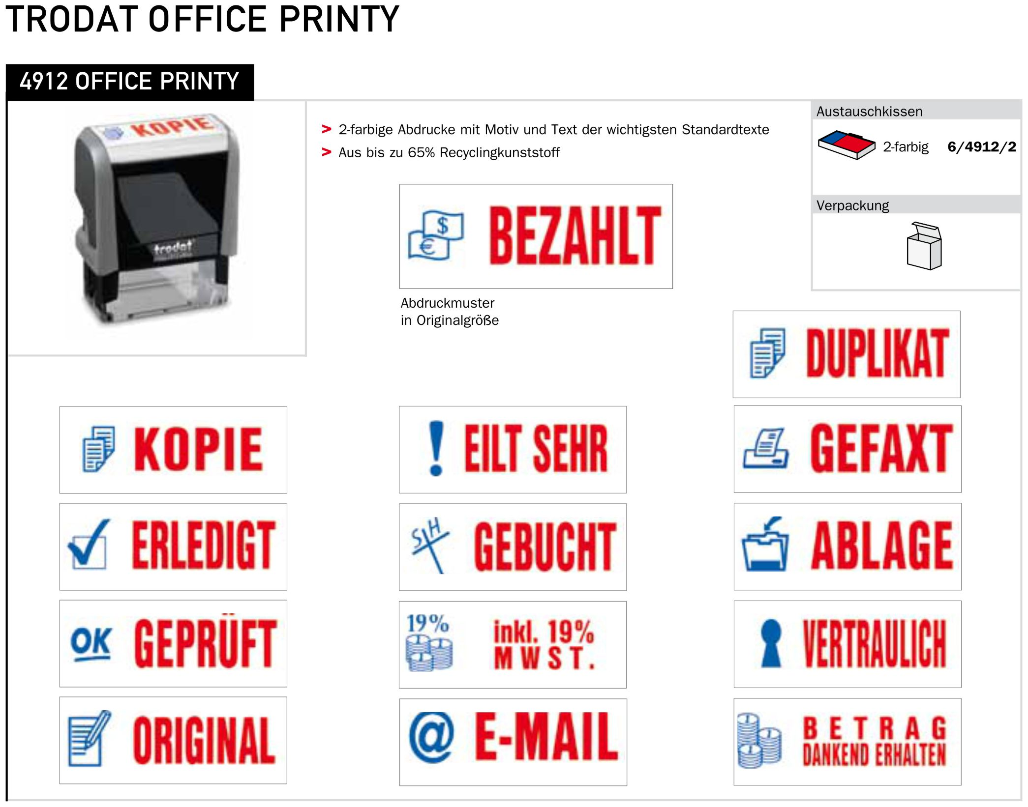 OFFICE PRINTY STEMPELLAYOUT MIT MOTIV UND TEXT
