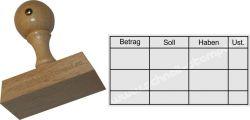 Holzstempel Buchung 35 x70 mm Betrag-Soll-Haben-Ust.