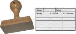 Holzstempel Buchung 40 x70 mm Datum-Beleg-Betrag-Konto Soll-Kont