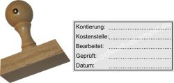 Holzstempel 30 x 60 mm Kontierung-Kostenstelle-Bearbeitet
