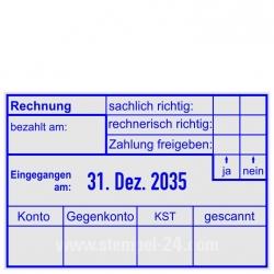 5474 Trodat Professional Kontierungsstempel Rechnung sachlich-richtig rechnerisch-richtig Zahlung-freigegeben Bezahlt-am Konto Gegenkonto KST gescannt
