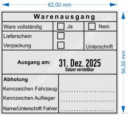 54110 Trodat Professional Warenausgangsstempel-Ware vollständig-Lieferschein-Verpackung-Unterschrift-Kennzeichen Fahrzeug-Kennzeichen Auflieger