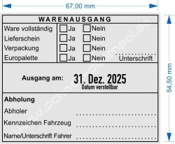 54110 Trodat Professional Warenausgangsstempel-Ware vollständig-Lieferschein-Verpackung-Europalette-Unterschift
