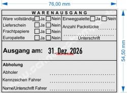 54110 Trodat Professional Warenausgangsstempel-Ware vollständig-Lieferschein-Frachtpapiere-Europalette-Einwegpalette-Anzahl Packstücke