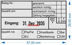 5480 Trodat Professional Rechnungsstempel Belegnummer bezahlt mit PayPal Kreditkarte Bar EC Bankeinzug Überweisung