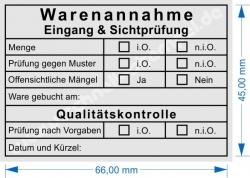 5208 Stempel Warenannahme Prüfung nach Sichtkontrolle Qualitätsprüfung