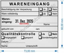 54120 Stempel Wareneingang Qualitaetskontrolle freigegeben gesperrt Sonderfreigabe