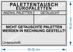 5208 Stempel Palettentausch Europaletten nicht getauschte Paletten werden in Rechnung gestellt.