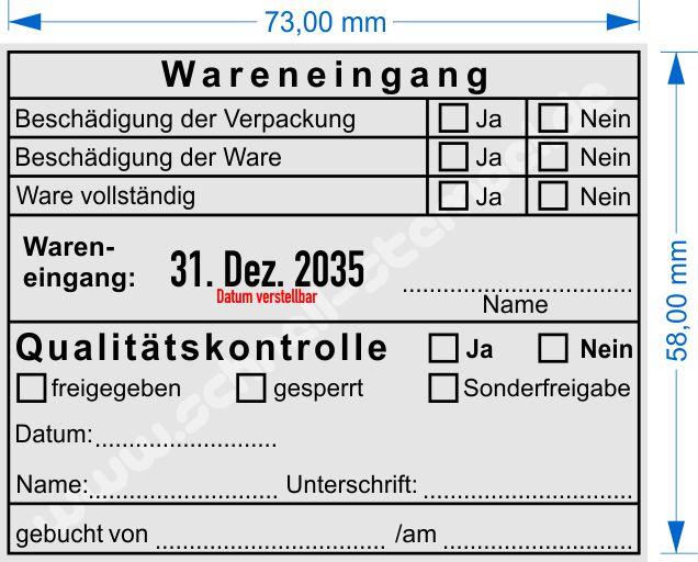 Wareneingangsstempel Qualitätskontrolle mit Datum verstellbar