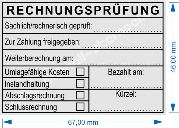 Stempel Abdruckmuster Rechnungsprüfung sachlich/rechnerisch geprüft zur Zahlung Freigeben Schlussrechnung