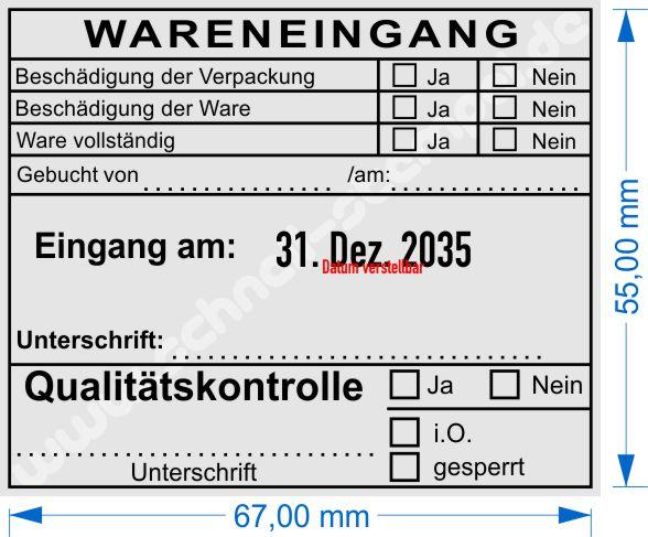 Musterabdruck Wareneingangsstempel Qualitätskontrolle